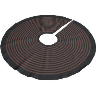 Black and Brown Striped Christmas Holiday Brushed Polyester Tree Skirt