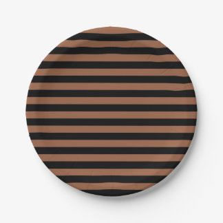 Black and Brown Stripes Paper Plate