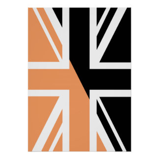 Black and brown Union Jack British(UK) Flag Poster