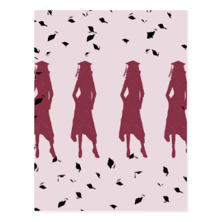 Black and Burgundy Female Grad Silhouettes Postcards