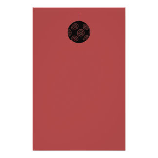 Black and Burgundy Red Christmas Bauble. Full Color Flyer
