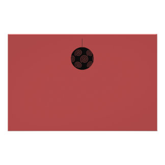 Black and Burgundy Red Christmas Bauble. Personalized Flyer