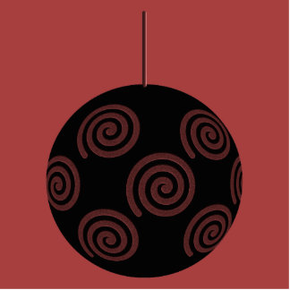 Black and Burgundy Red Christmas Bauble. Photo Sculpture Badge