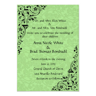 Black and Celadon Lace Wedding  Invitation