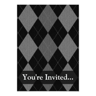 Black and Charcoal Gray Argyle 13 Cm X 18 Cm Invitation Card