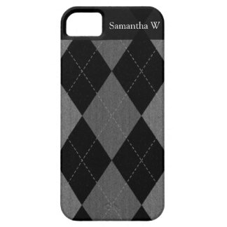 Black and Charcoal Gray Argyle Barely There iPhone 5 Case