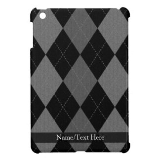 Black and Charcoal Gray Argyle iPad Mini Cases