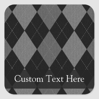 Black and Charcoal Gray Argyle Square Sticker