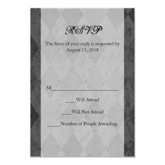 Black and Charcoal Harlequin with Script 9 Cm X 13 Cm Invitation Card
