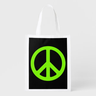 Black and Chartreuse Peace Symbol Reusable Grocery Bag