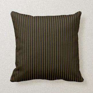 Black and Chocolate Brown Stripes Cushion