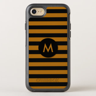 Black and Coffee Color Striped Monogram OtterBox Symmetry iPhone 8/7 Case