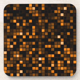 Black And Copper Meteor Shower Squares Pattern Coasters