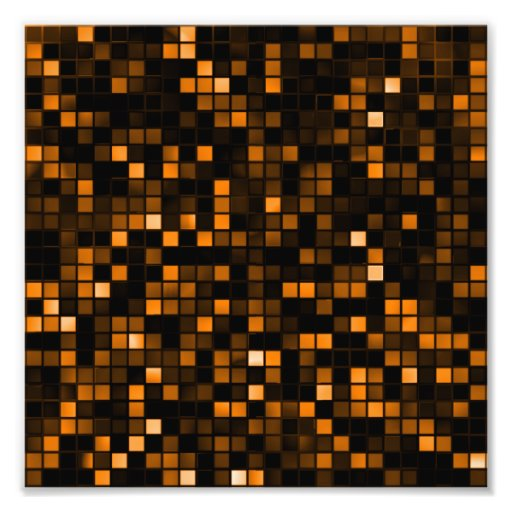 Black And Copper 'Meteor Shower' Squares Pattern Photo Print