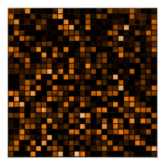Black And Copper 'Meteor Shower' Squares Pattern Posters
