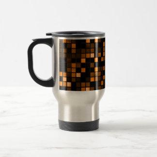 Black And Copper 'Meteor Shower' Squares Pattern Travel Mug