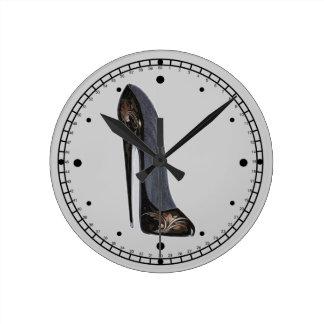 Black and Copper Stiletto Shoe Art Wall Clock