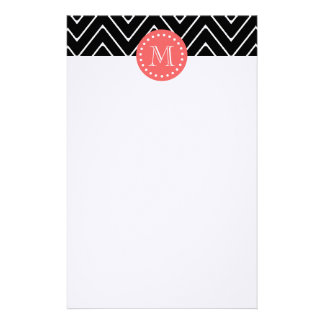 Black and Coral Chevron with Custom Monogram Personalised Stationery