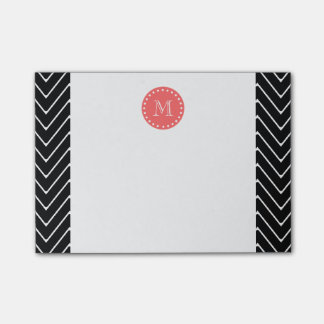 Black and Coral Chevron with Custom Monogram Post-it Notes