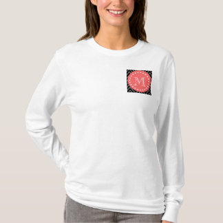 Black and Coral Chevron with Custom Monogram T-Shirt