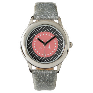 Black and Coral Chevron with Custom Monogram Wristwatches