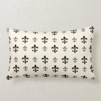 Black and Cream Elegant Fleur de Lis Lumbar Cushion