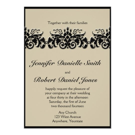 Black and Cream Floral Embossed Wedding Invitation
