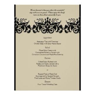 Black and Cream Floral Embossed Wedding Menu 21.5 Cm X 28 Cm Flyer