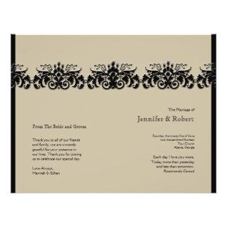Black and Cream Floral Embossed Wedding Program 21.5 Cm X 28 Cm Flyer