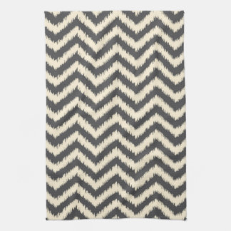 Black and Cream Ikat Chevron Tea Towel