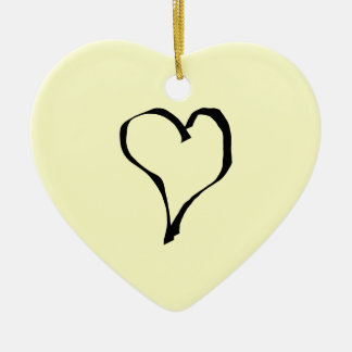 Black and Cream Love Heart Design. Christmas Ornament
