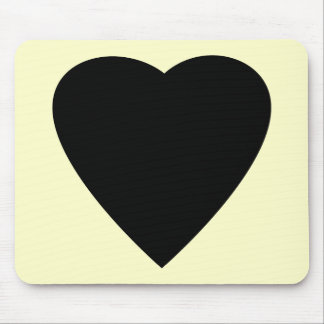 Black and Cream Love Heart Design. Mouse Mat