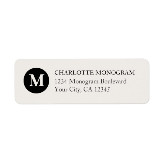 Black and Cream Monogram Return Address Label