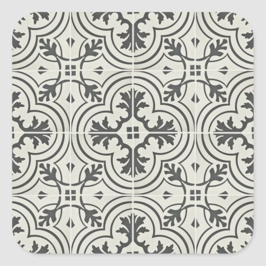 black and cream ornate floor pattern texture square