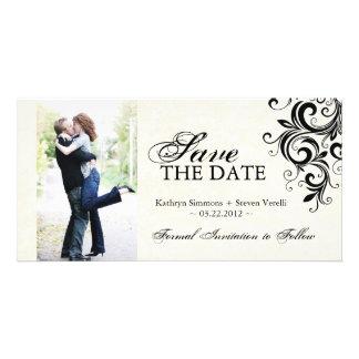 Black and Cream Photo Save The Date Invitation Picture Card