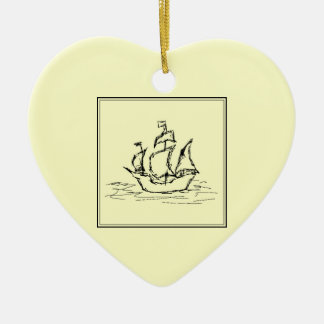 Black and Cream. Tall Ship. Sailing Ship. Christmas Ornament