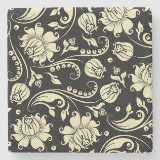 Black And Cream Vintage Floral Damasks Stone Beverage Coaster