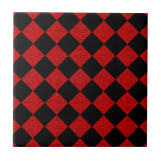 Black and crimson red diamond checker pattern small square tile