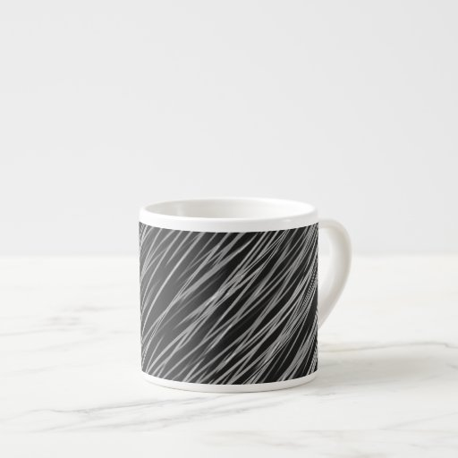 Black and Curved White Lines Abstract Espresso Mug