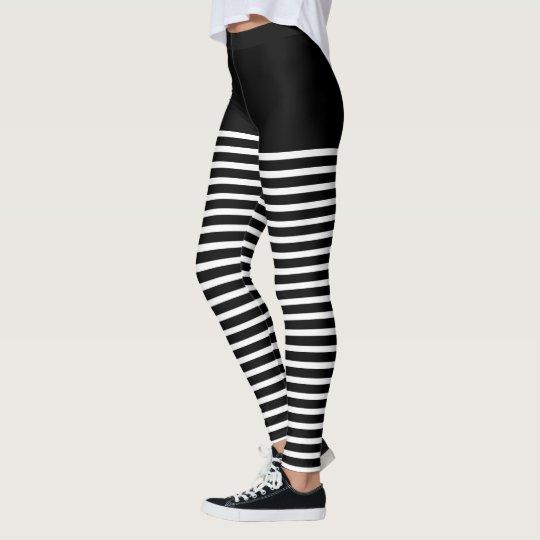 Black And Custom Color Stripes Costume Clownbee Leggings Zazzlecouk