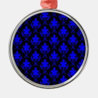 Black And Dark Blue Ornate Wallpaper Pattern Christmas Ornament