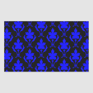 Black And Dark Blue Ornate Wallpaper Pattern Rectangular Sticker