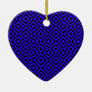 Black And Dark Blue Square 001 Pattern Ceramic Heart Decoration