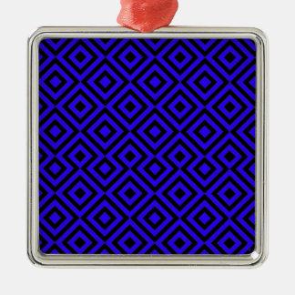 Black And Dark Blue Square 001 Pattern Christmas Ornament