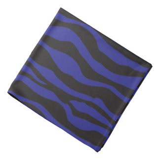Black and Dark Blue Zebra Striped Design Bandana