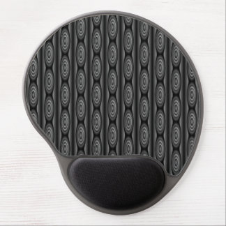 Black and Dark Gray Striped Abstract Pattern Gel Mouse Pad