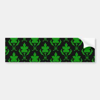 Black And Dark Green Ornate Wallpaper Pattern Bumper Sticker