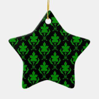Black And Dark Green Ornate Wallpaper Pattern Christmas Ornament