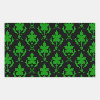 Black And Dark Green Ornate Wallpaper Pattern Rectangular Sticker