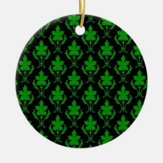 Black And Dark Green Ornate Wallpaper Pattern Round Ceramic Decoration